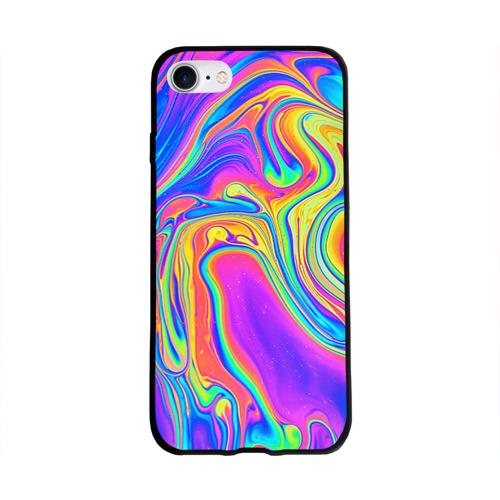 Чехол для Apple iPhone 8 силиконовый глянцевый Цветные разводы Фото 01