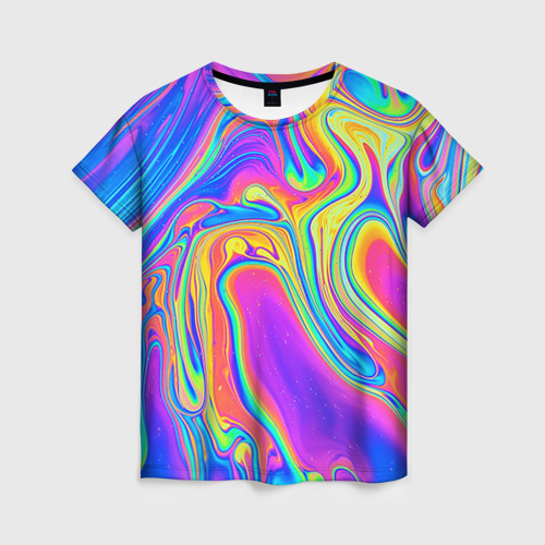 Женская футболка 3D Цветные разводы Фото 01
