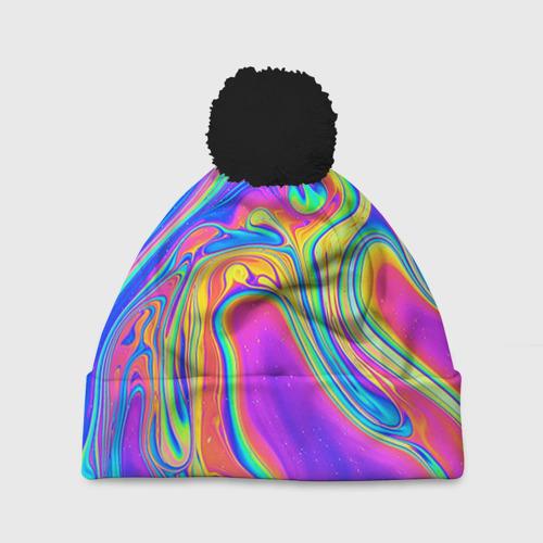 Шапка 3D c помпоном Цветные разводы