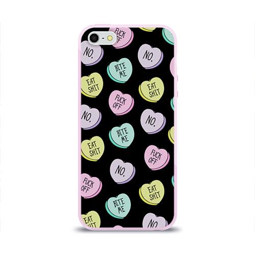 Чехол для Apple iPhone 5/5S силиконовый глянцевый Сердца с надписями Фото 01
