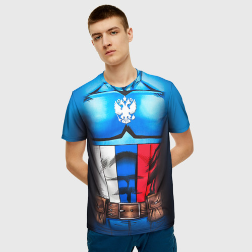 Мужская футболка 3D Капитан Россия Фото 01