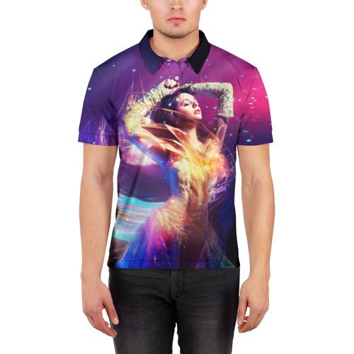 Мужская рубашка поло 3D  Фото 03, Девушка в огнях