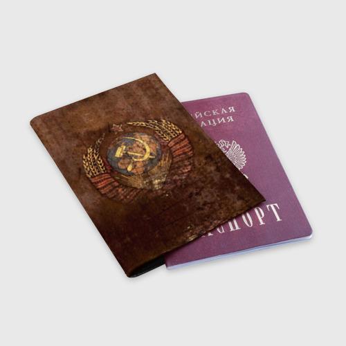 Обложка для паспорта матовая кожа Герб СССР Фото 01