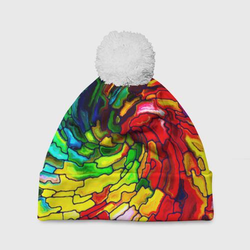 Шапка 3D c помпоном Мозаика