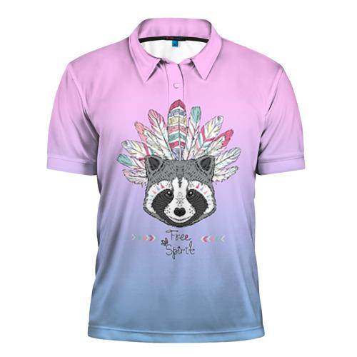 Мужская рубашка поло 3D Енот