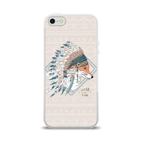 Чехол для Apple iPhone 5/5S силиконовый глянцевый Лиса в перьях Фото 01