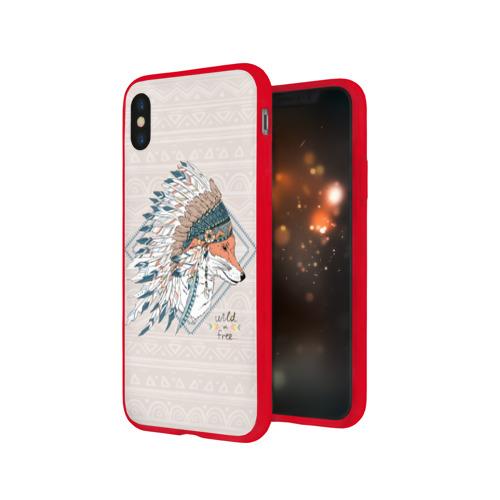 Чехол для Apple iPhone X силиконовый глянцевый Лиса в перьях Фото 01