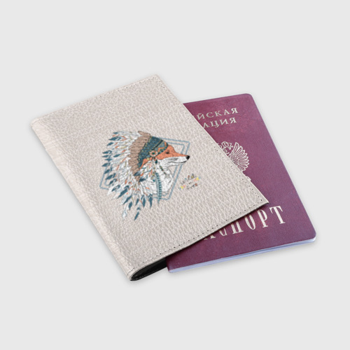 Обложка для паспорта матовая кожа Лиса в перьях Фото 01