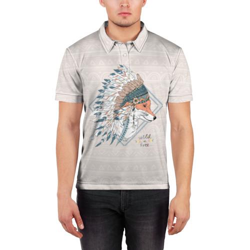 Мужская рубашка поло 3D  Фото 03, Лиса в перьях