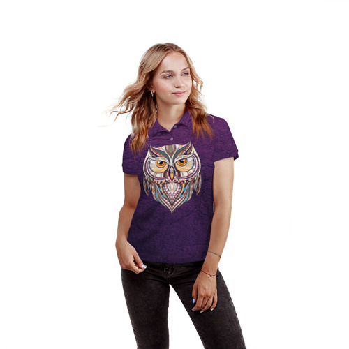 Женская рубашка поло 3D  Фото 03, Совушка