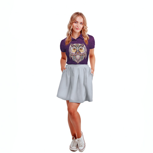 Женская рубашка поло 3D  Фото 04, Совушка