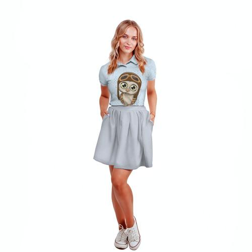 Женская рубашка поло 3D  Фото 04, Сова пилот