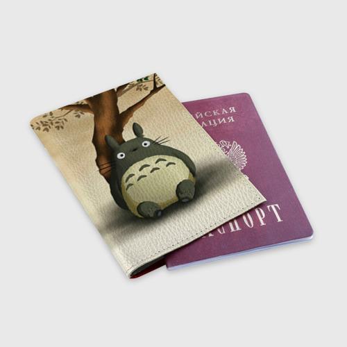 Обложка для паспорта матовая кожа Тоторо под деревом Фото 01