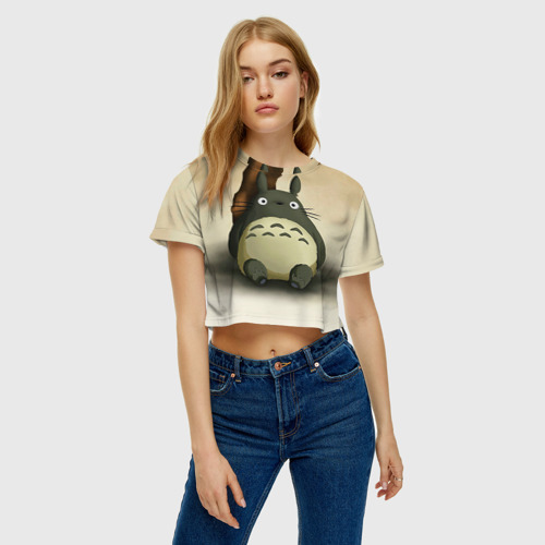 Женская футболка 3D укороченная  Фото 04, Тоторо под деревом