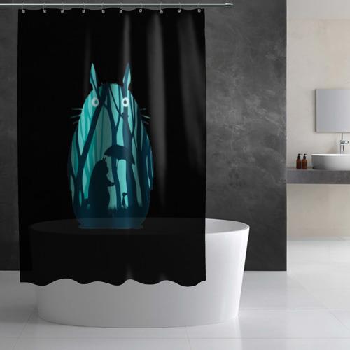 Штора 3D для ванной Тоторо в лесу Фото 01