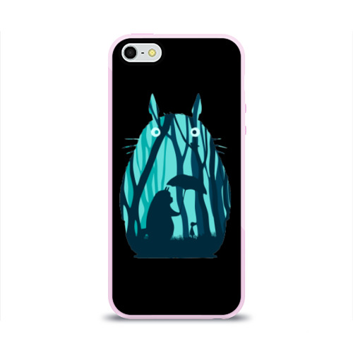 Чехол для Apple iPhone 5/5S силиконовый глянцевый Тоторо в лесу Фото 01