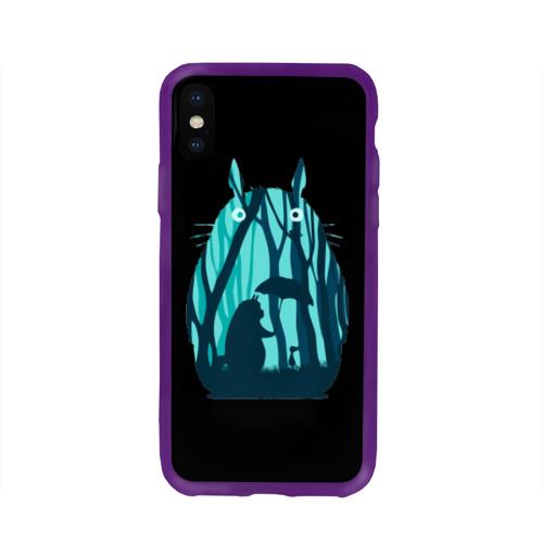 Чехол для Apple iPhone X силиконовый глянцевый Тоторо в лесу Фото 01