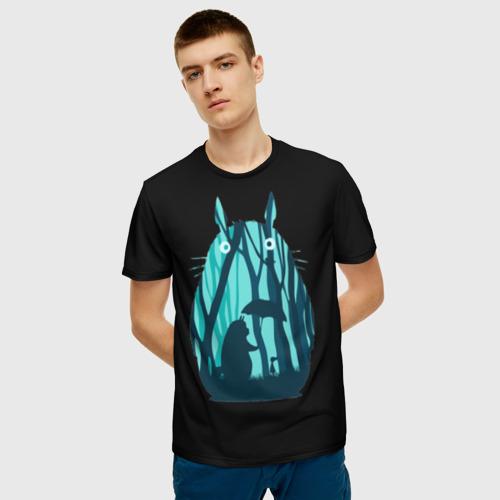 Мужская футболка 3D Тоторо в лесу Фото 01