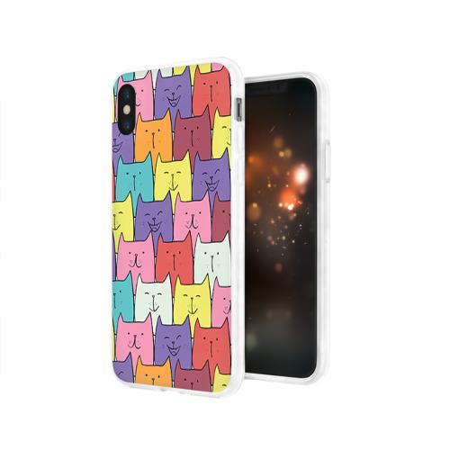 Чехол для Apple iPhone X силиконовый глянцевый  Фото 03, Котики