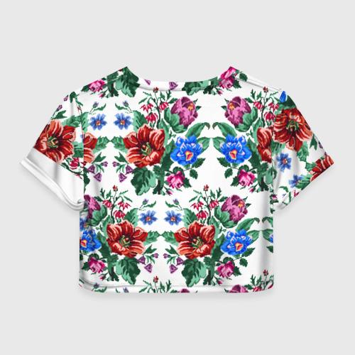 Женская футболка 3D укороченная  Фото 02, Flower on gray