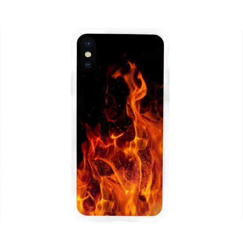 Чехол для Apple iPhone X силиконовый глянцевый Огонь Фото 01