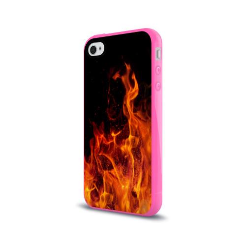 Чехол для Apple iPhone 4/4S силиконовый глянцевый Огонь Фото 01