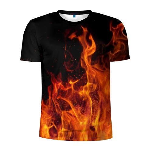 Мужская футболка 3D спортивная Огонь Фото 01