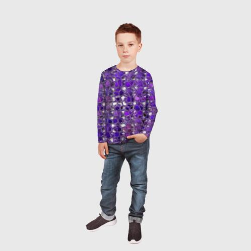Детский лонгслив 3D  Фото 05, Фиолетовая мозаика