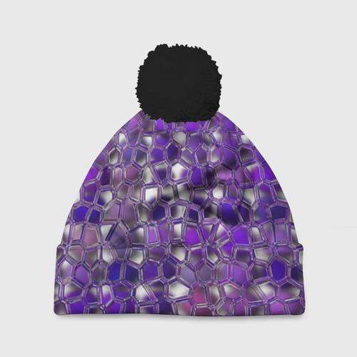 Шапка 3D c помпоном Фиолетовая мозаика