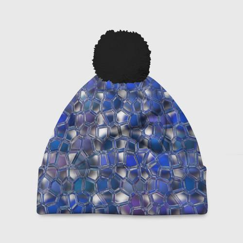 Шапка 3D c помпоном Синяя мозаика