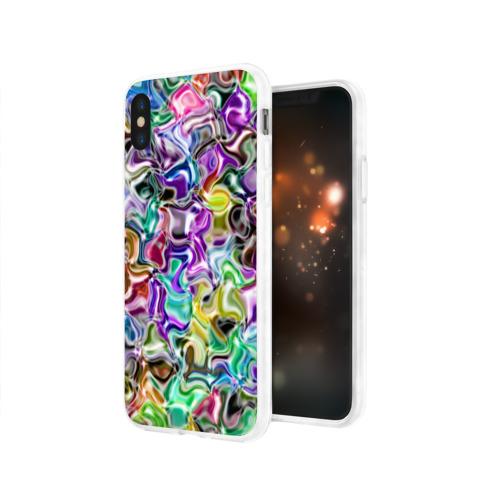 Чехол для Apple iPhone X силиконовый глянцевый  Фото 03, Цветное безумие