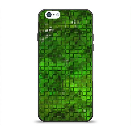 Чехол для Apple iPhone 6 силиконовый глянцевый Зелёные кубики от Всемайки