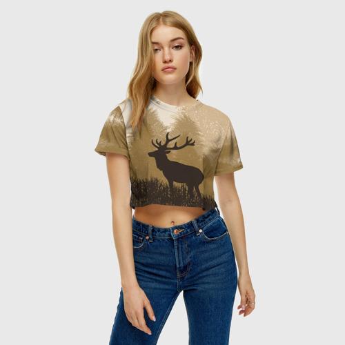 Женская футболка 3D укороченная  Фото 04, Олень