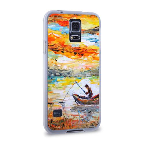 Чехол для Samsung Galaxy S5 силиконовый  Фото 02, Рыбак на лодке