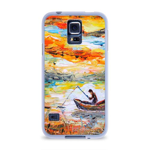 Чехол для Samsung Galaxy S5 силиконовый  Фото 01, Рыбак на лодке