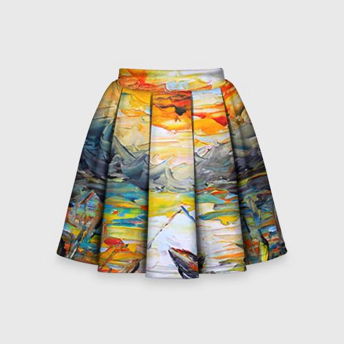 Детская юбка-солнце 3D Рыбак на лодке