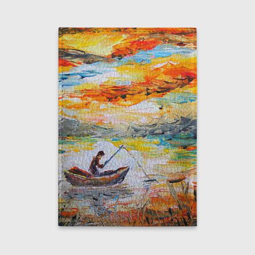 Обложка для автодокументов  Фото 02, Рыбак на лодке