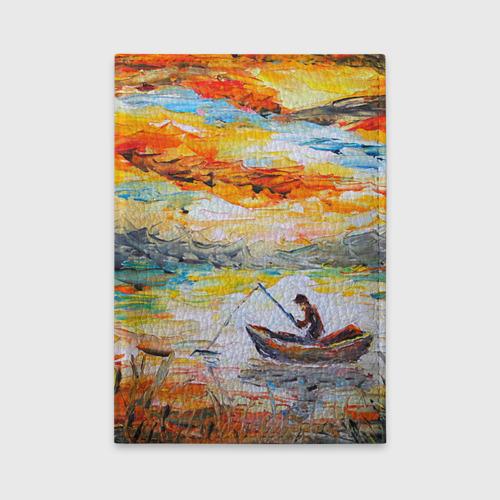 Обложка для автодокументов  Фото 01, Рыбак на лодке