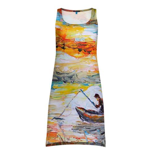 Платье-майка 3D Рыбак на лодке
