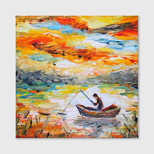 Холст квадратный  Фото 02, Рыбак на лодке
