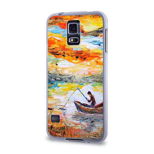 Чехол для Samsung Galaxy S5 силиконовый  Фото 03, Рыбак на лодке