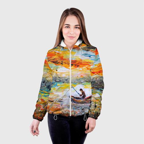 Женская куртка 3D Рыбак на лодке Фото 01