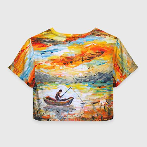 Женская футболка 3D укороченная  Фото 02, Рыбак на лодке