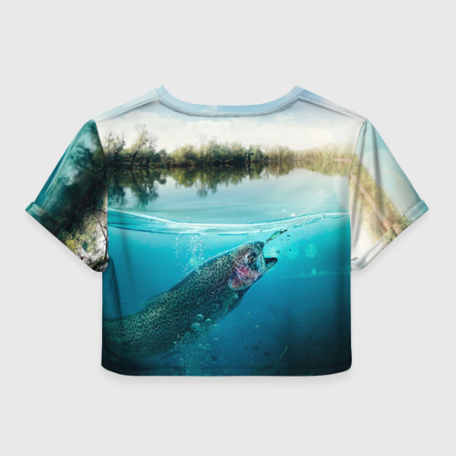Женская футболка 3D укороченная  Фото 02, Рыбалка