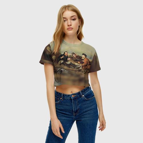 Женская футболка 3D укороченная  Фото 04, Охотники