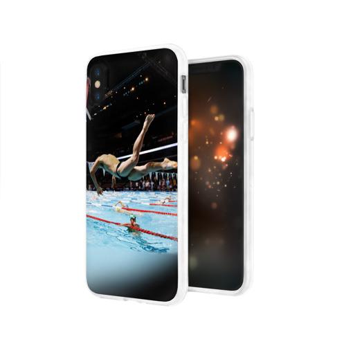Чехол для Apple iPhone X силиконовый глянцевый  Фото 03, Пловец