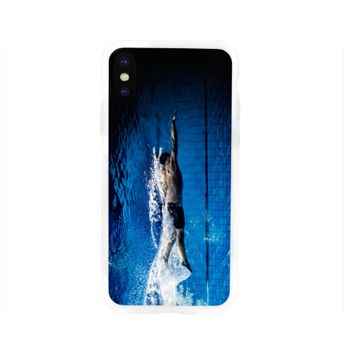 Чехол для Apple iPhone X силиконовый глянцевый  Фото 01, Пловец