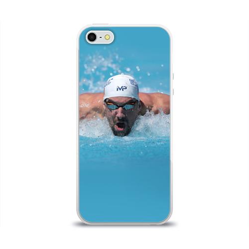Чехол для Apple iPhone 5/5S силиконовый глянцевый  Фото 01, Michael Phelps