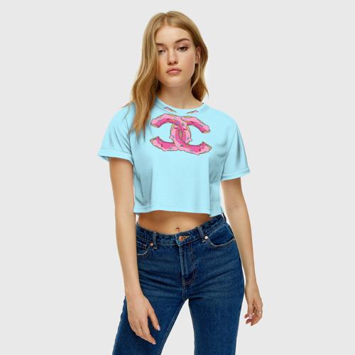 Женская футболка 3D укороченная  Фото 04, Модный пончик