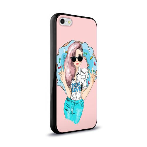 Чехол для Apple iPhone 5/5S силиконовый глянцевый  Фото 02, Моя любовь - пончики